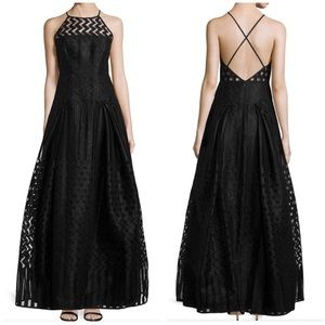 Milly Sleeveless Fil Coupe Gown Black 4 NWT